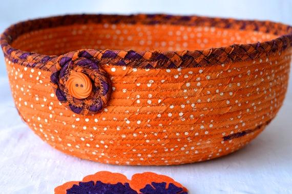 Halloween Decoration, FREE Shipping... Orange Fall Batik Basket, Handmade Halloween Candy Bucket, Autumn Decoration, Trick or Treat Bowl