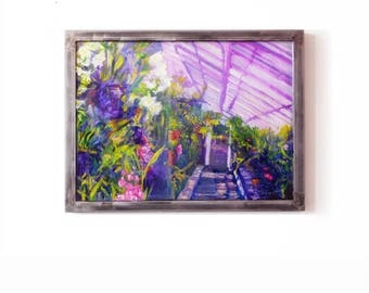 Botanical Art painting on glass Tender Wild Heart Original painting of luscious greenhouse