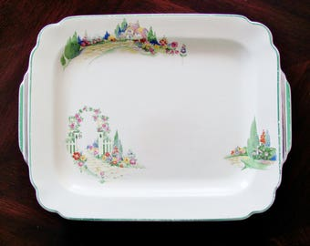 Homer Laughlin English Garden Serving Platter 12 Inch Decal Ware 1940s Rare Find Good Condition