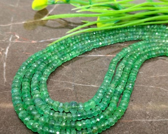 Natural Emerald 3-5mm Faceted Rondelle Gemstone Beads / Approx 190 pieces on 16 Inch long strand / JBC-ET-149505