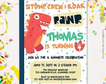 Cute Colorful Dinosaur Birthday Party Invitation, Dinomite Birthday Party Printable Invitation