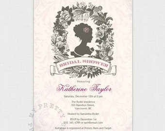 Vintage Cameo Bridal invitation, You-Print Digital Invitation