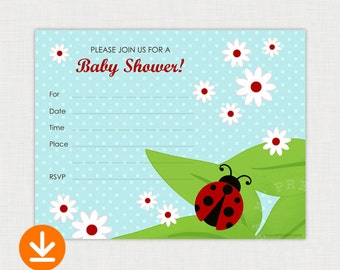Ladybug Baby Shower Invitation, Printable Baby Shower invite - DIY Fill In Shower Invitation - Instant Download