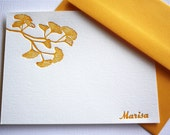 Golden Ginkgo Leaves Personalized Letterpress Stationery