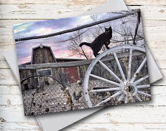 Black Cat Note Card, Barn Note Card, Farm Note Card, Thinking of You, Thank You Card, Miss You Card, All Occasion Card, Black Cat on Fence