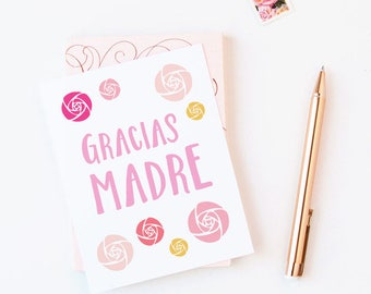 Gracias Madre Greeting Card | Happy Mother's Day | Illustrated Roses