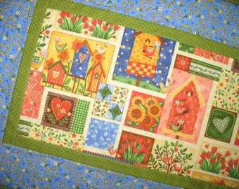 Spring Table Runner, Birds, Floral, Easter, quilted, Summer, fabric from Paintbrush Studio