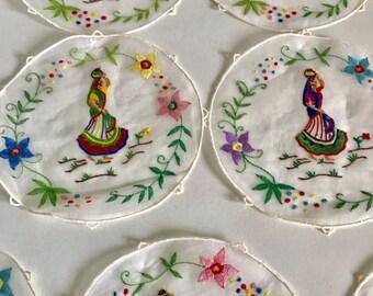 Vintage Embroidered Linen Coaster