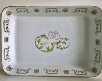 Vintage France Louis Lourioux Le Fane Porcelain Large 13 X 9 X 2 Rectangle Gold Accent Baker Baking Casserole Dish