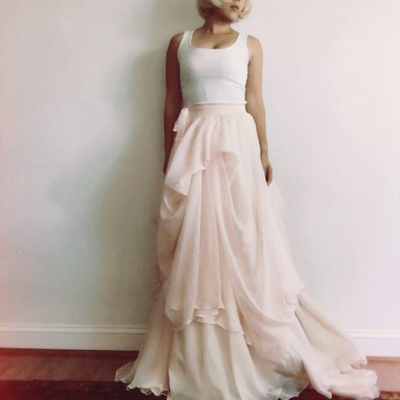 Fiona-Custom wedding skirt-chiffon wedding skirt-ivory wedding skirt-nude bridal skirt-wedding skirt