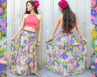 Vintage Floral Maxi Skirt 1960s FLOWER POWER Size 2