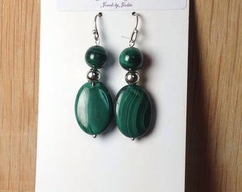 Green Malachite Gemstone and .925 Sterling Silver Earrings 1.5""