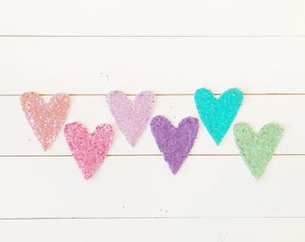Sequin Heart Garland - 6 Color Options