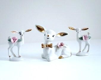 Kitsch Reindeer Figurines, Trio of Reindeer Deer, Christmas Holiday Decorations, Reindeer Deer, Porcelain Deer Reindeer Figurines Decor