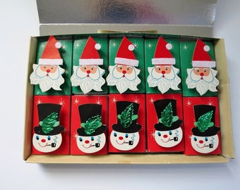 Vintage Christmas Wood Match Boxes, Holiday Candle Matches, Unused Wood Match Boxes Set by Chadwick Miller, 3-Dimensional Decorated Boxes