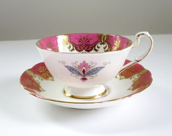 Vintage Paragon Pink Fine Bone China Tea Cup and Saucer, Pink Snowflake Medallion Pattern w Gold Gilt, England Bone China