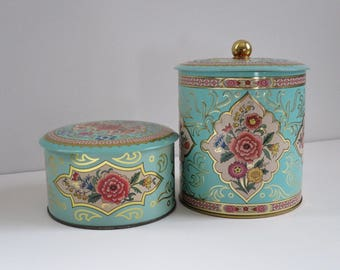 Vintage Daher Tin, Pink and Turquoise Storage Tins, Metal Storage Pink Floral , Floral Biscuit Powder Storage Tins, Decorative Tins