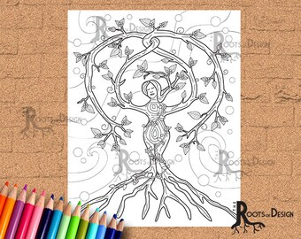 INSTANT DOWNLOAD Cute Christmas Tree Lady Page Print, doodle art, printable
