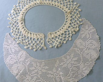 2 Vintage White Handmade Crocheted  Lace Collars - NC