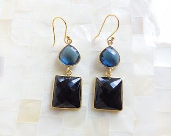 Step-Cut Faceted Sapphire Blue Quartz Vermeil Bezel Connector & Black Spinel Vermeil Bezel Drop Dangle Earrings (B1272)
