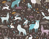 Arctic Fauna in Dark Brown  - SNOWFALL  - by Paula McGloin for Camelot Cotton Fabrics - By the Yard