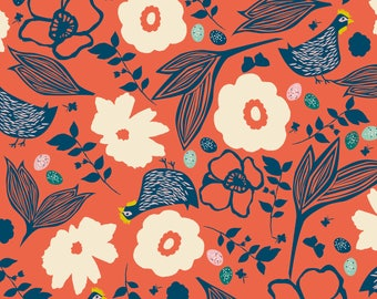 Pecking Hens in Coral - GARDEN ROOST - Blend Fabrics - By the Yard