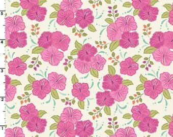 Pink Hibiscus  A192.3 - ISLAND GIRL - Lewis and Irene Fabric - By the Yard