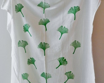 Green Ginko Leaves Extra Large Flour Sack Dishcloth. Hand Printed Dish Towel. Boho Style. Hostess Gift.  Kitchen Towels. Boho Home. Natural.