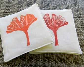Ginko Leaf Coasters (Set of Four). Block Printed Hand Printed. Botanical Home Decor. Coffee Lover. Kitchen and Dining. Housewarming Gift.