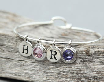 Mothers Day Personalized Bracelet, Mothers Day Gift for Mother in Law, Grandmother Jewelry, Custom Initial Bracelet, Birthstone Jewelry