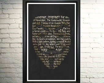 Guy Fawkes word art print - 11x17""
