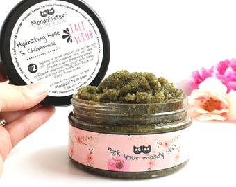 Rose & Chamomile Hydrating Facial Scrub - Calming Rose Face Scrub - Sensitive skin Chamomile Rose Facial Scrub