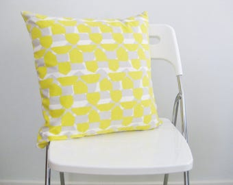 "Yellow and Gray / Taupe Abstract Nate Berkus Design Pillow Cover Fits 18"" x 18"" /***SALE***"