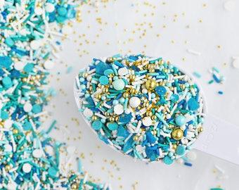 BEACH GLASS Twinkle Sprinkle Medley, Mermaid Sprinkles, Blue and Gold, Seaside, Canadian Sprinkle