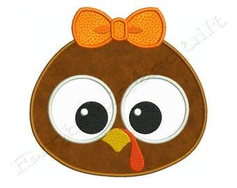 Thanksgiving BABY Bow PILGRIM TURKEY Machine Applique Embroidery - Instant Digital Download