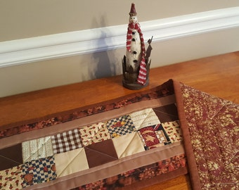 Handmade Quilted Table Runner, Dresser Topper or Mat, Wall Hanging,  Primitive or County Home Decor, Perfect for small table