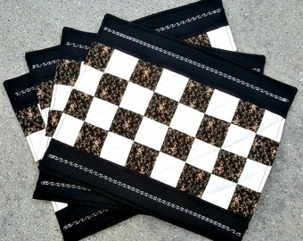 Patchwork Place Mats Handmade and Quilted with clean lines Black, Gold and Cream Traditional Patchwork Blocks