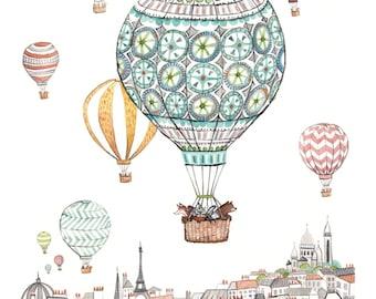Balloons over Paris print with mat