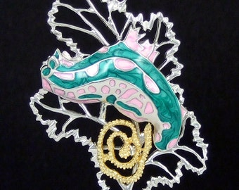 Sterling Silver Colourful Swirl Pink and Green Sea Slug with Eggs on Sea fan Pendant Necklace