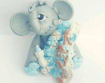 Baby Elephant Cake Topper  Baby Shower or First Birthday Custom Keepsake personalized baby girl baby boy neutral baby elephant child cake