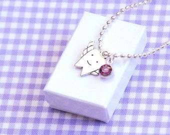 Lost Tooth Charm Necklace, Tooth Fairy Necklace Gift, Tooth Charm Necklace for Kids in Purple Crystal