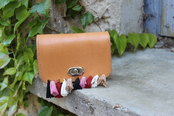 Leather clutch, leather fringed bag, leather bag with tassels