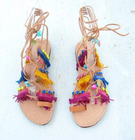 Boho sandals, leather Gladiator sandals! Boho, gladiator womens sandals