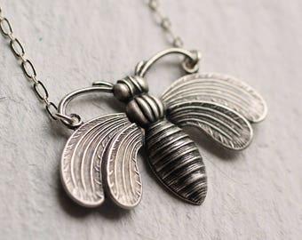 Silver Bee Necklace ... Bumble Honey Bee Vintage Pendant