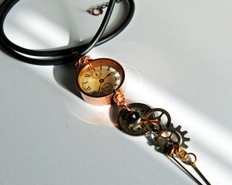 Copper clockworks necklace, steampunk necklace, industrial necklace, goth necklace, gifts under 50