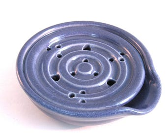 Soap Dish - Draining Soap Dish - Handmade Pottery - Pottersong - One Piece - Blue Soap Saver - Kitchen - Bath - Denim Jeans Blue