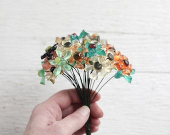 Vintage Acrylic Flower Picks - Colorful Retro 70s Plastic Flowers, 24 Craft Stems