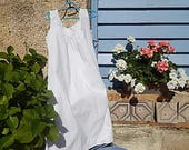 Vintage French Chemise Nightgown in Cotton with Hand Embroidery