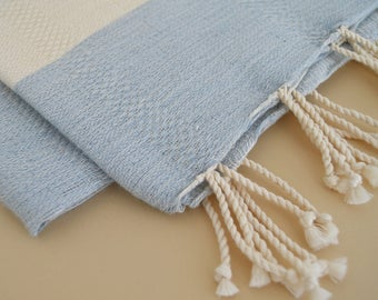 SALE 50 OFF/ Turkish Beach Bath Towel Peshtemal / Blue / Wedding Gift, Spa, Swim, Pool Towels and Pareo