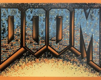 "DOOM! (Doom inspired Silkscreen Print) - 12"" x 18"""
